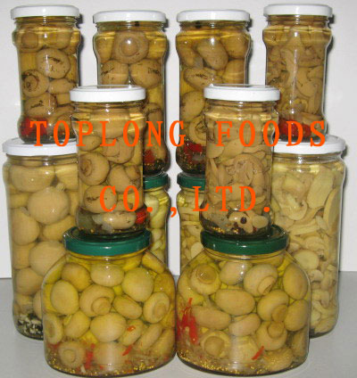 Canned Mushrooms in Glass Jars